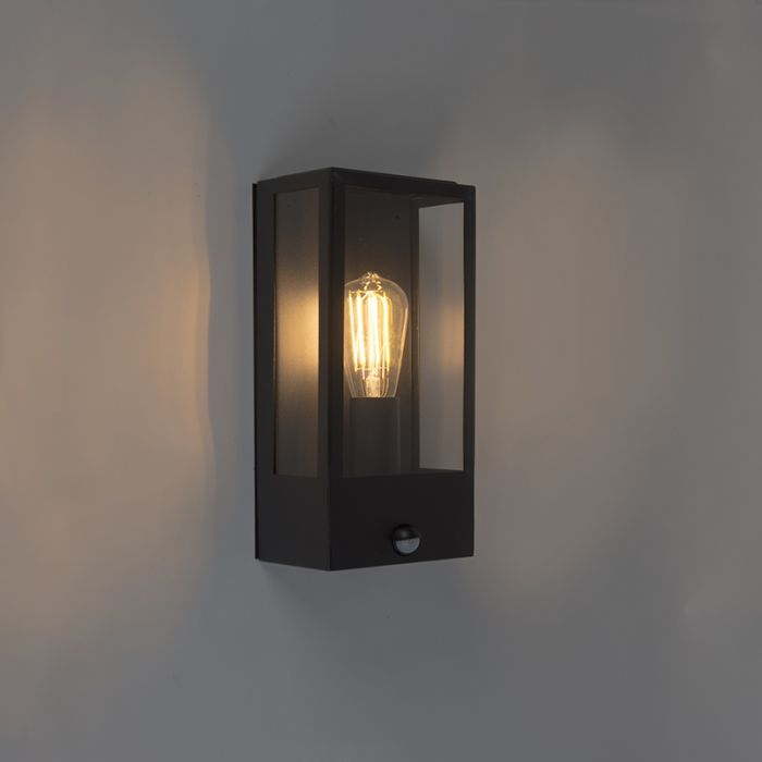 Modern Outdoor Wall Lamp Black With Motion Sensor Rotterdam 1 Black Wall Lamps Sensor Lights Outdoor Outdoor Wall Lamps