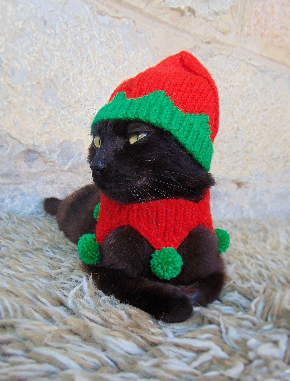 Elf Pet Costume, Christmas Costume for Cat, Elf Hat for