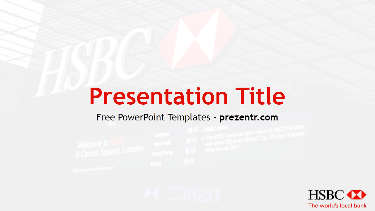 The free HSBC PowerPoint Template has an image of HSBC Bank with a logo of  bank