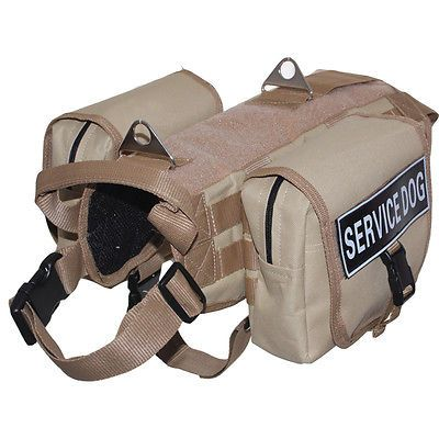 Tactical Military Service Dog Vest Harness Removable Side Bags