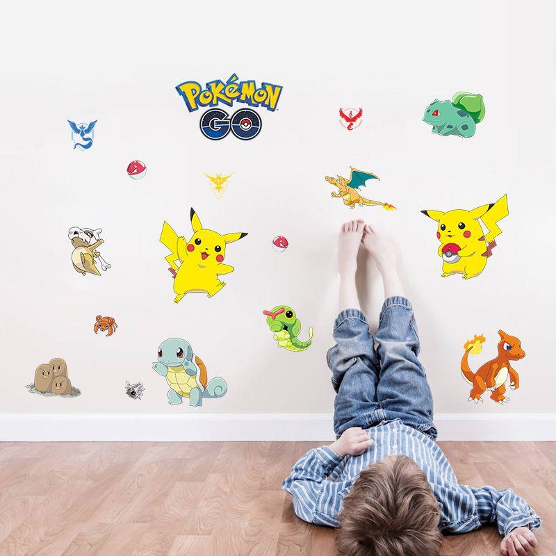 Cartoon Pokemon Go Pvc Wall Art Decals For Kids Rooms Bedroom Pikachu Home  Decor Stickers Children Diy Removable Posters U003eu003eu003e For More Information, ...