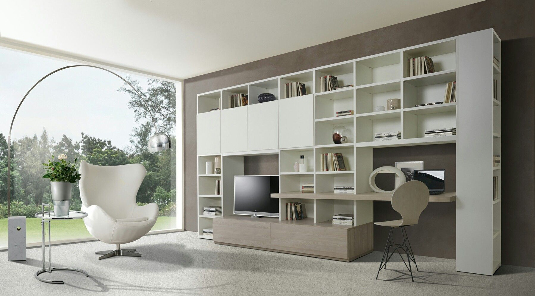 Parete soggiorno con scrivania | living room & home office nel 2019 ...