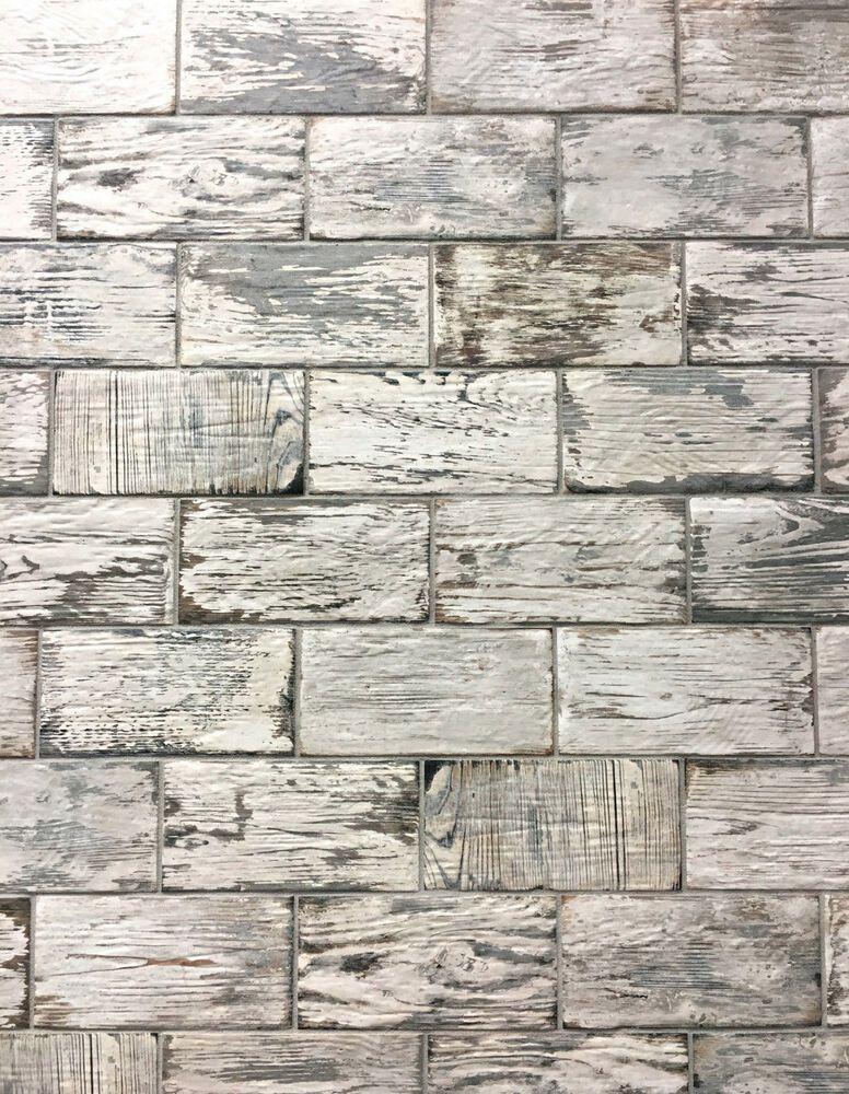 Rustic White Brick Look 4x8 Porcelain Tile Wall Floor Kitchen One Piece Ebay Rustic Backsplash Kitchen Flooring Rustic White