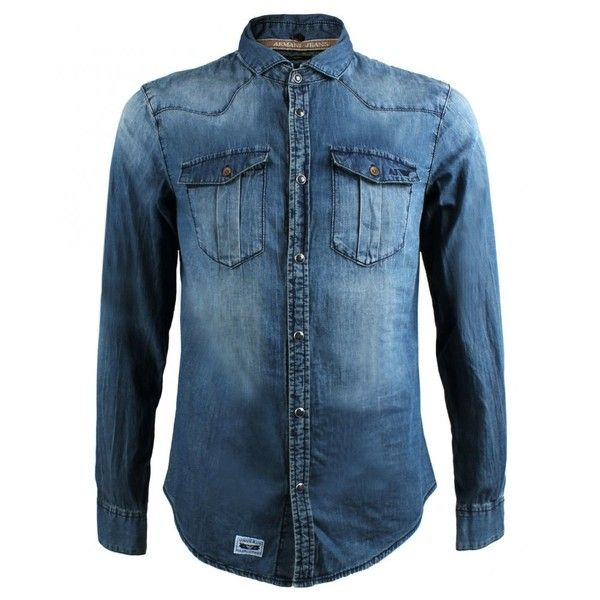 2e915a7b80 Armani Jeans Denim Shirt With Detachable Collar ( 93) ❤ liked on Polyvore  featuring mens