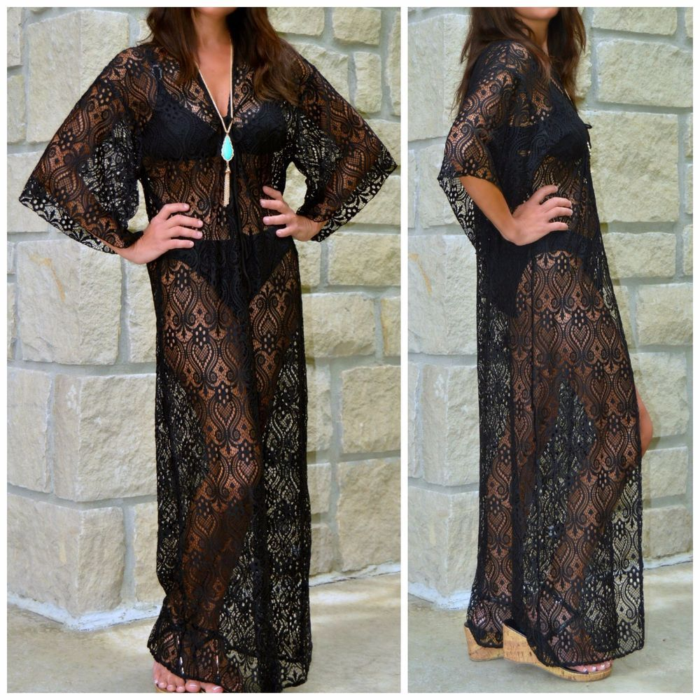 ELAN USA Boho Hippie Black CROCHET LACE Long Maxi Kimono DUSTER ...