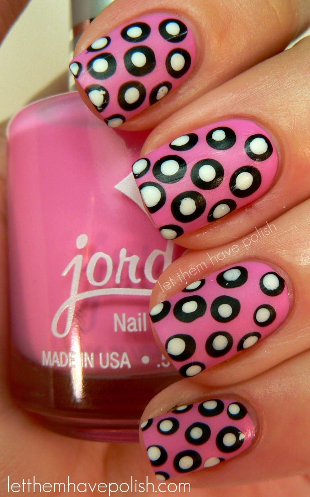 Pink, Black and White Polka Dot Nails