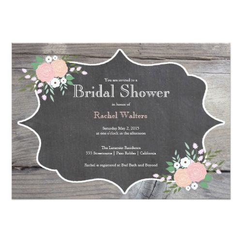 Bridal Shower Chalkboard Invitations Rustic Floral Chalkboard