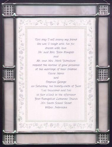 Custom Stained Glass Frames For Wedding Invitations Wedding Cards