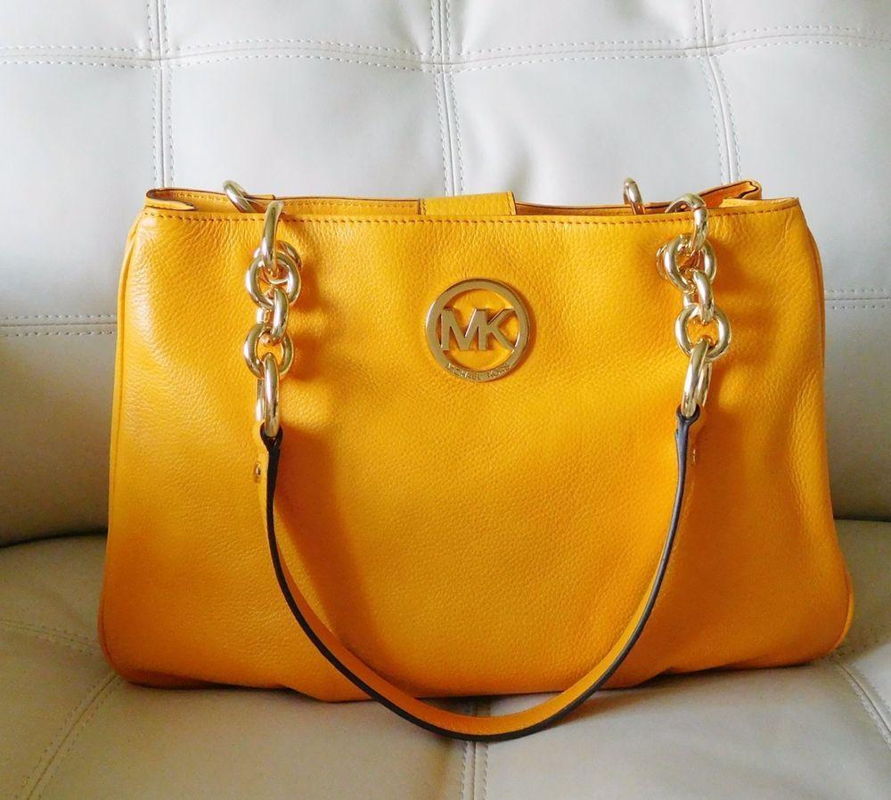 e2d51772a6a6 New Michael Kors Fulton Chain Medium Tote Vintage Yellow Leather # MichaelKors #TotesShoppers