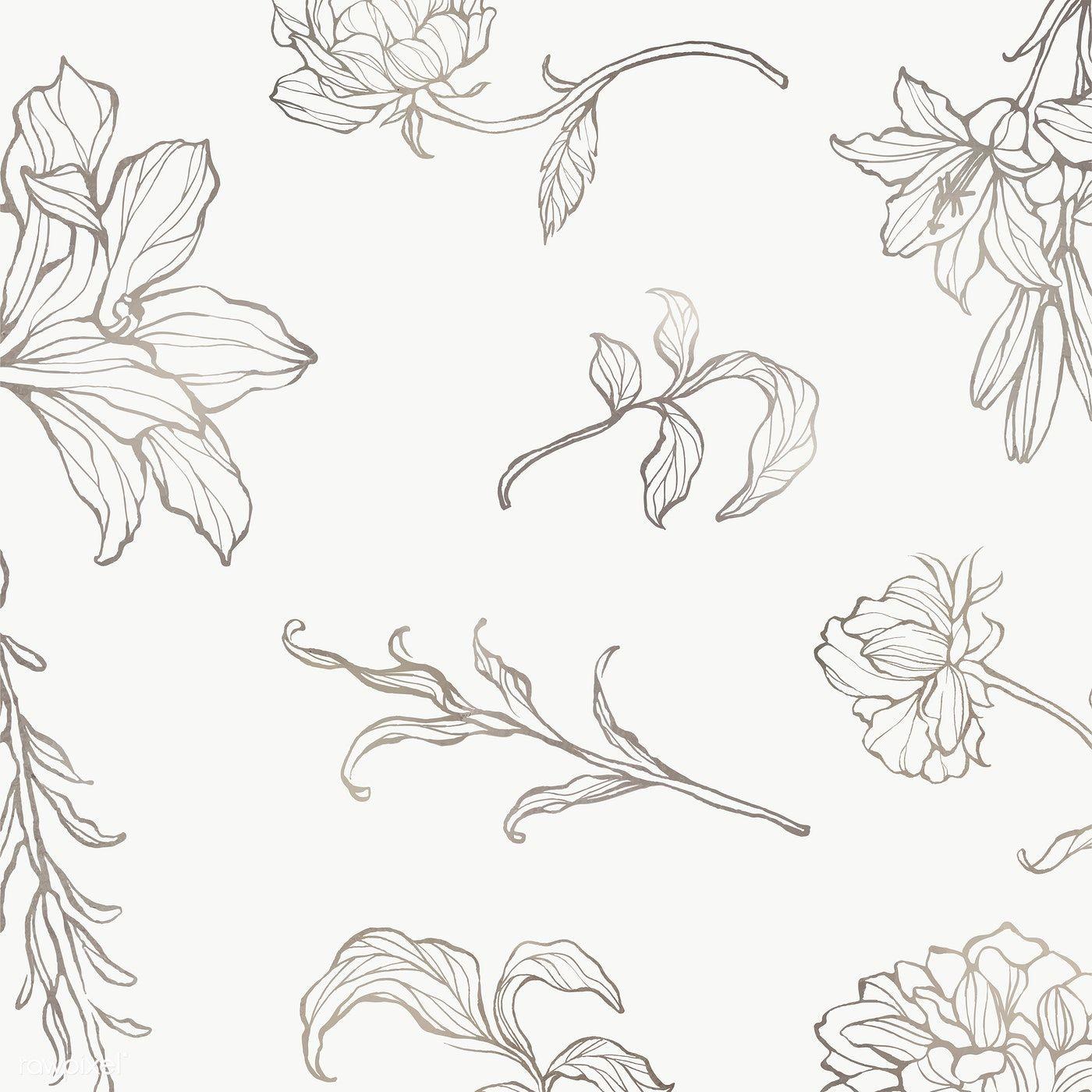 Download Premium Png Of Gold Floral Outline Background Transparent