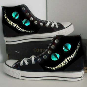 Custom Cheshire cathand painted shoesgiftcanvas shoes
