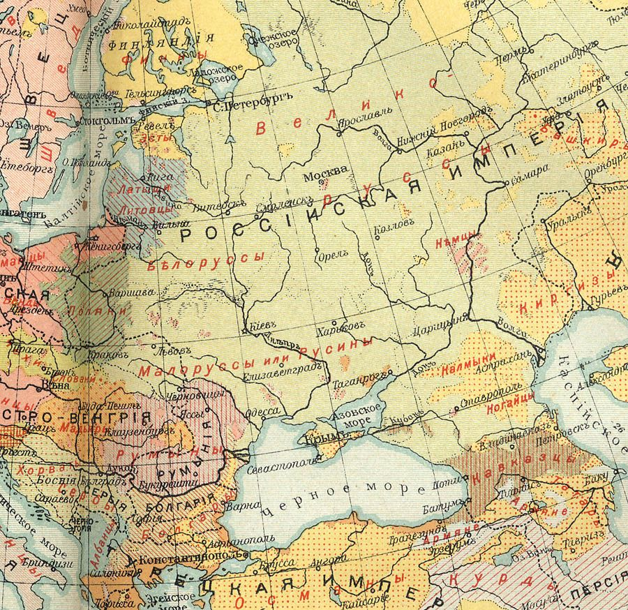 East European population and languages Russian map of 1907