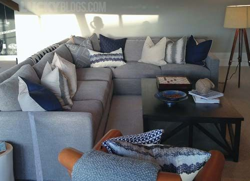 Gray And Navy Decorating Lots Of Pillows This Year Very