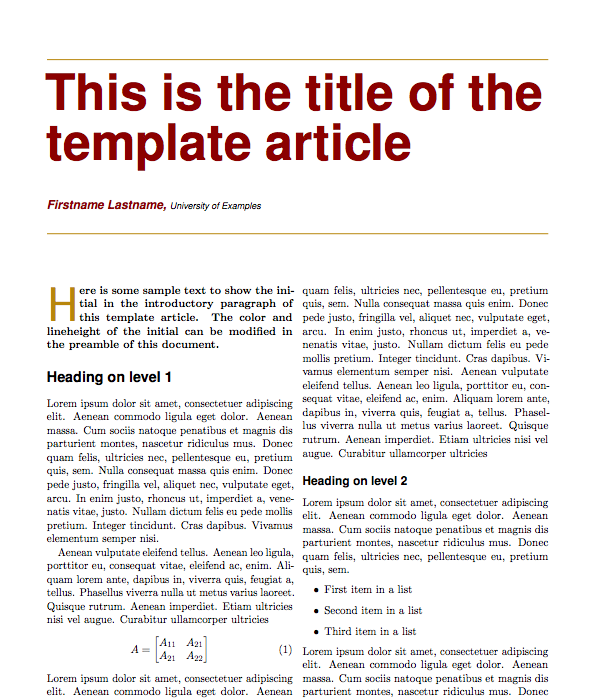 latex templates of scientific articles