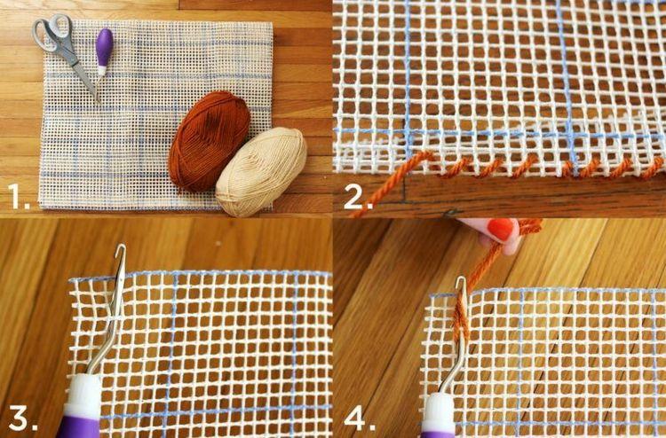 Netz Selber Machen teppich selber machen netz weben wolle braun beige teppich