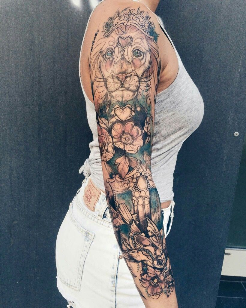 Pinterest : @MazLyons | Animal sleeve tattoo, Girls with