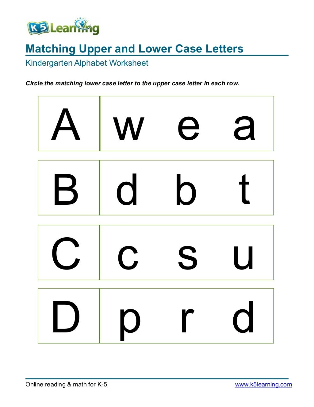 Matching Upper And Lower Case Letters Kindergarten