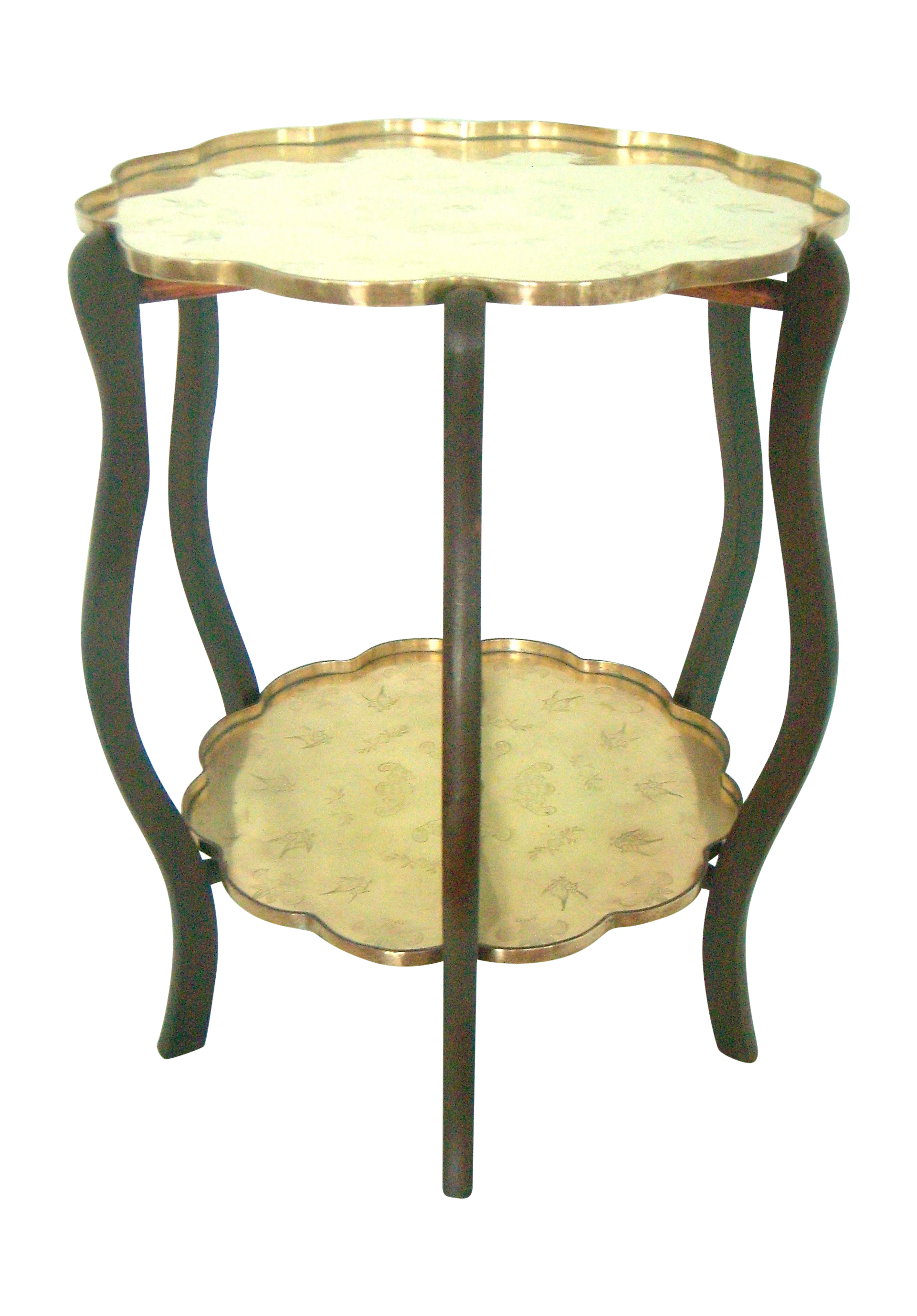 Chinese Side Table.Folding Two Tier Chinese Side Table With Two Etched Brass Trays