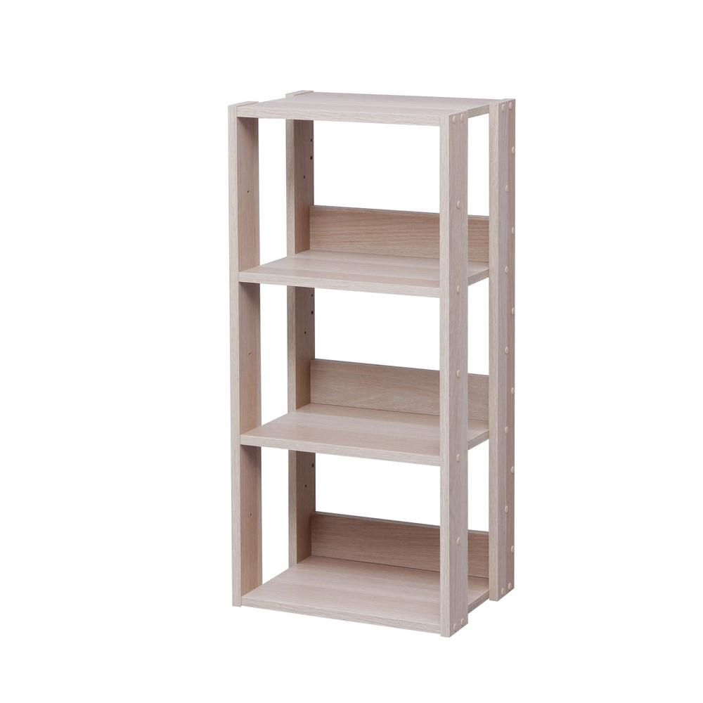 Iris 34 63 In Light Brown Faux Wood 3 Shelf Standard Bookcase With Adjustable Shelves 596226 Wood Shelving Units Wood Bookshelves Wood Shelves