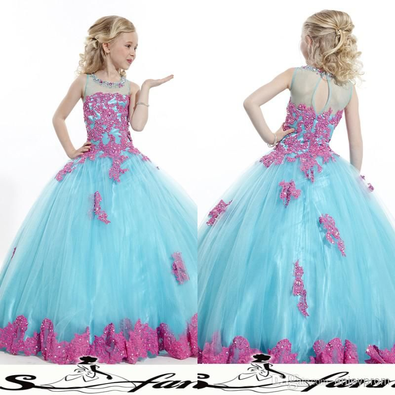 Wholesale cheap girls pageant dress online, sweep train - Find ...