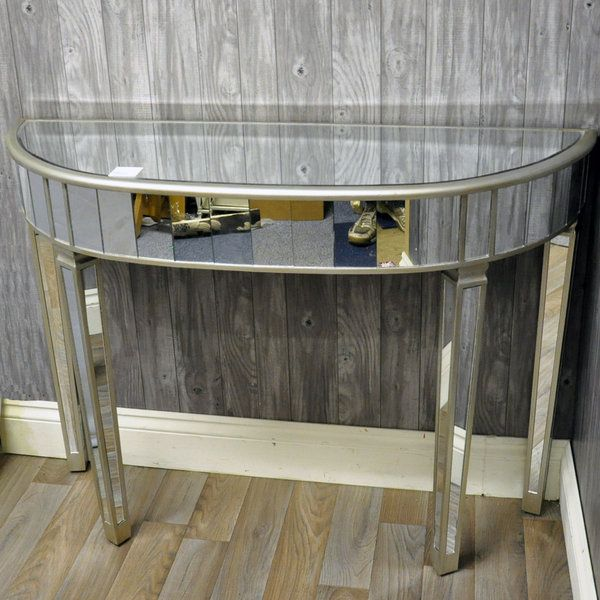 Venetian Style Glass Half Moon Console Table