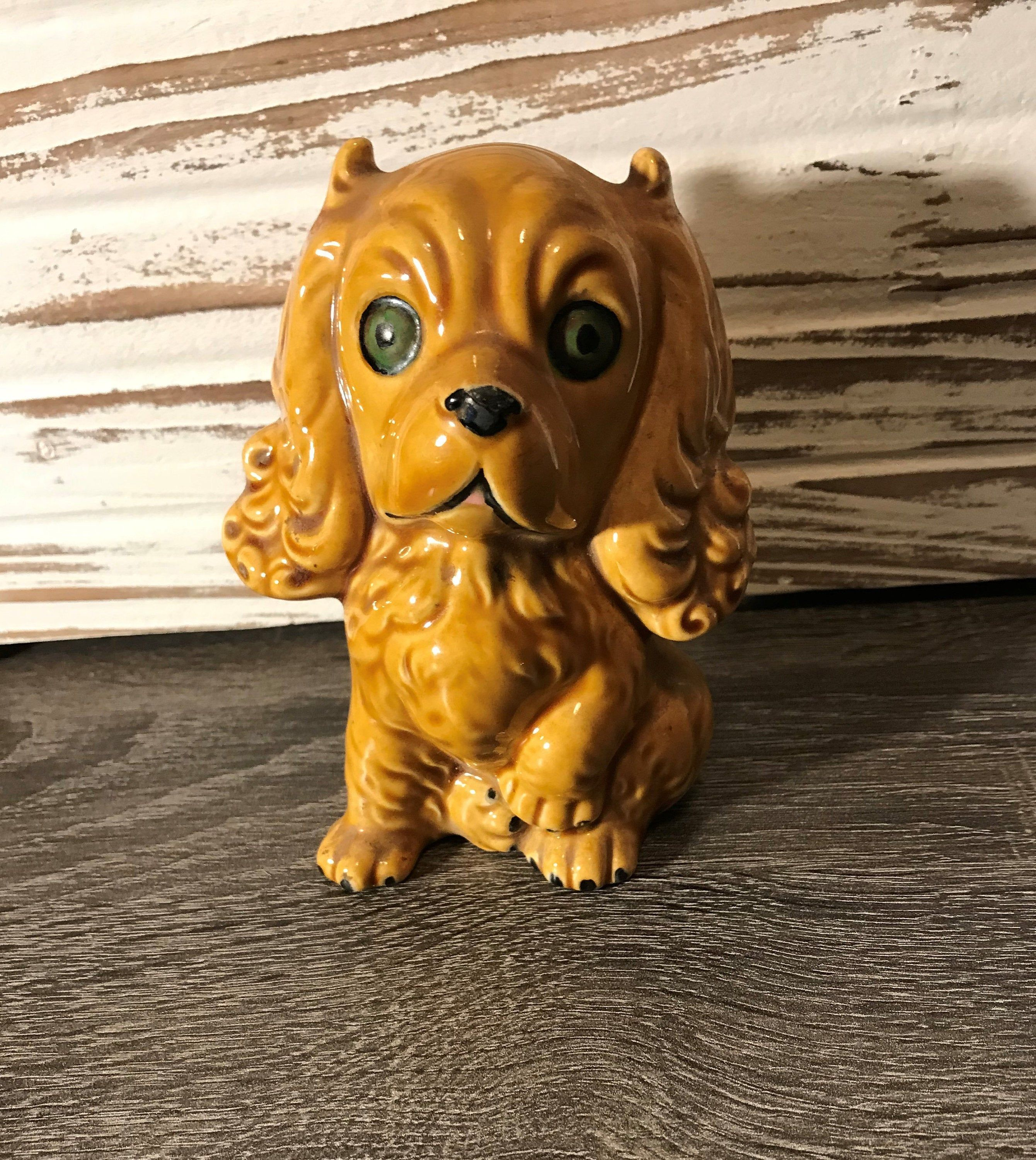Cocker Spaniel Figurine Hand Painted Collectible Statue Brown//White