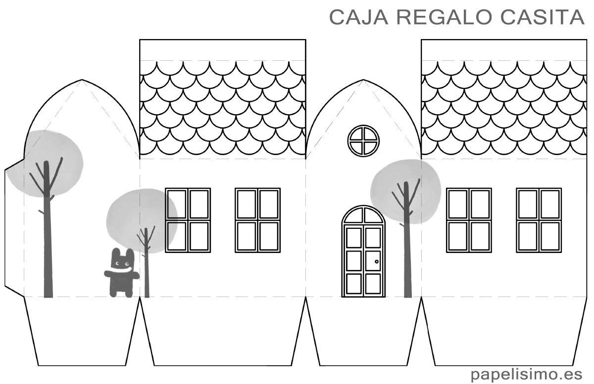 Plantilla-caja-de-regalo-casa-paper-box-house | Cajas de regalo ...