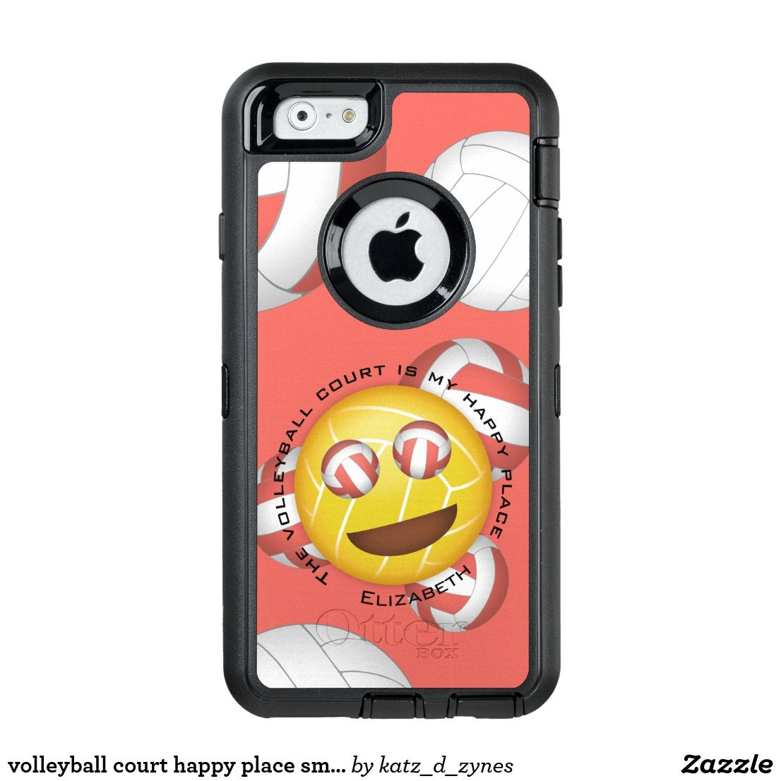 Volleyball Court Happy Place Emoji Otterbox Iphone Case Zazzle Com Iphone Cases Otterbox Otterbox Iphone Volleyball Player Gifts