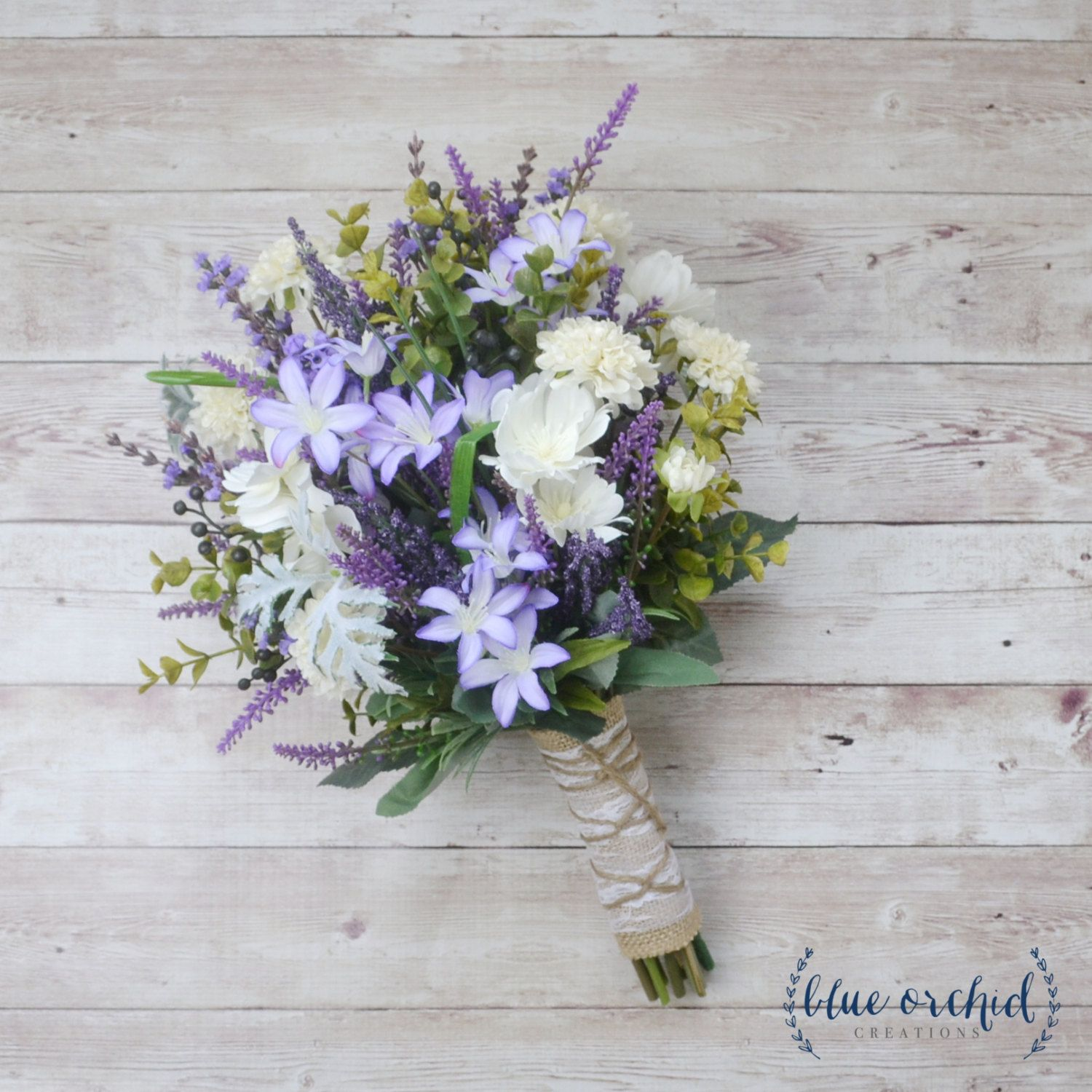 Rustic Wedding Bouquet Blue And Lavender Wildflower Bouquet With
