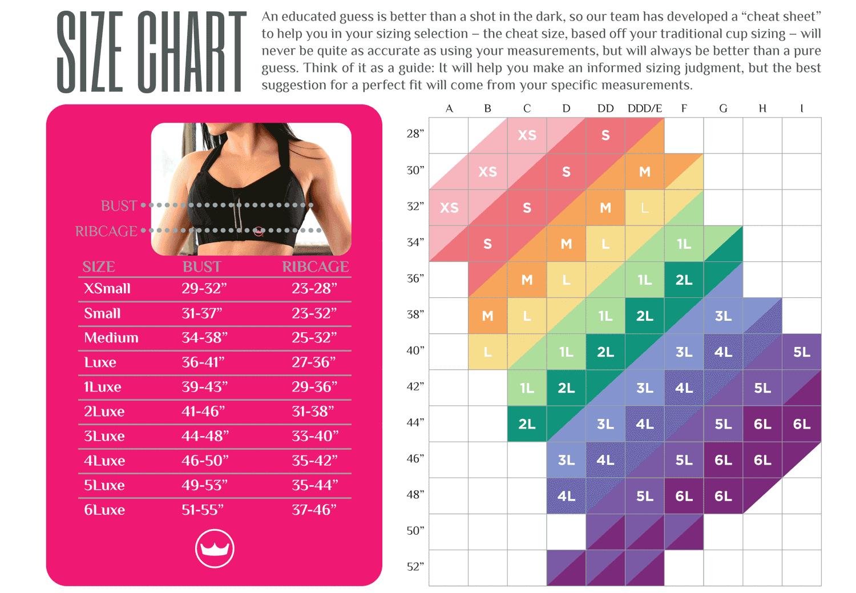 Ultimate Sports Bra® Black Bra size charts, High