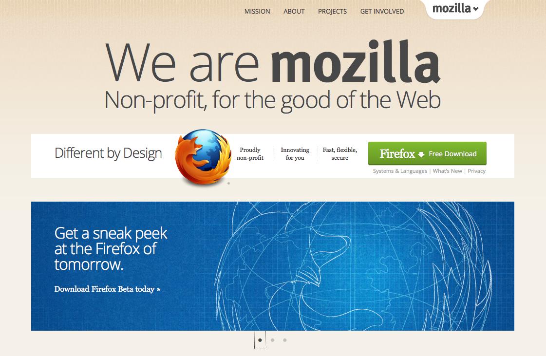 Screenshot of Mozilla homepage, June 2012    http://mozilla.org