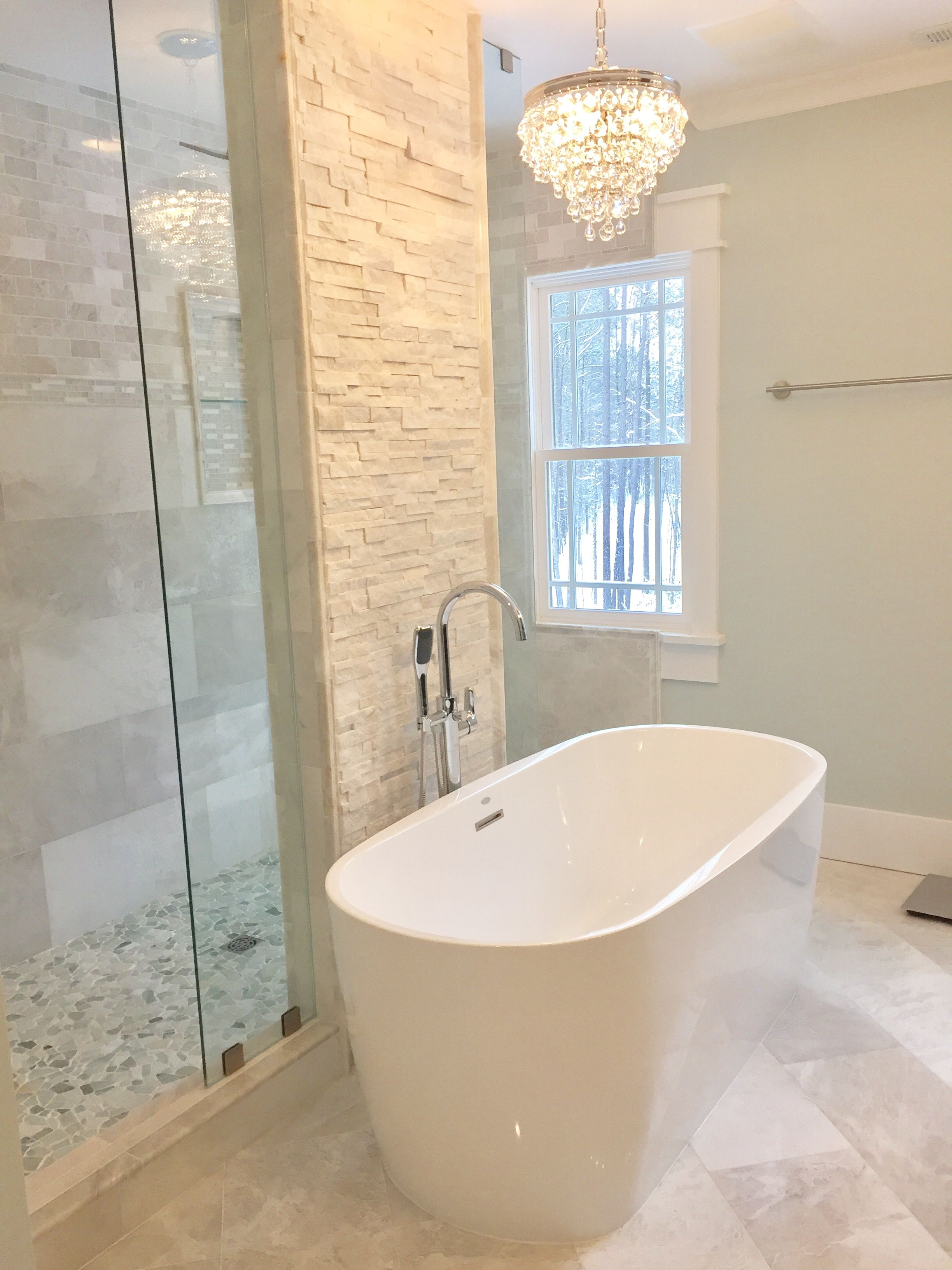 Walk through shower and free standing tub. www.premierstructuresbiz ...