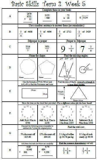 basic skills maths ks2 y5 y6 y7 grade 5 grade 6 grade 7 four functions fractions decimals. Black Bedroom Furniture Sets. Home Design Ideas
