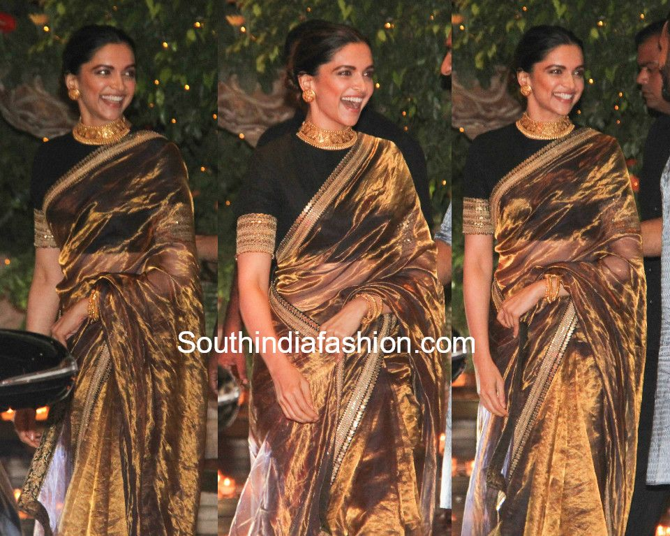 43de4fea77f78f deepika padukone sabyasachi gold tissue saree ambani ganesh chaturthi  celebrations photo