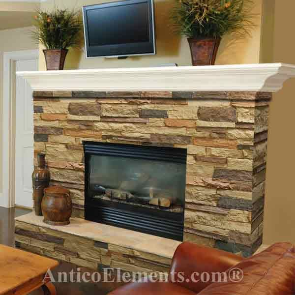 Stacking stone fireplace a place to hang our hats for Stone fireplace makeover ideas