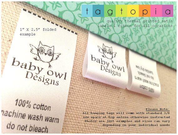 911cf6e88b151 Qty 1000~ Custom satin labels~ thermal printed textile/clothing tags ...