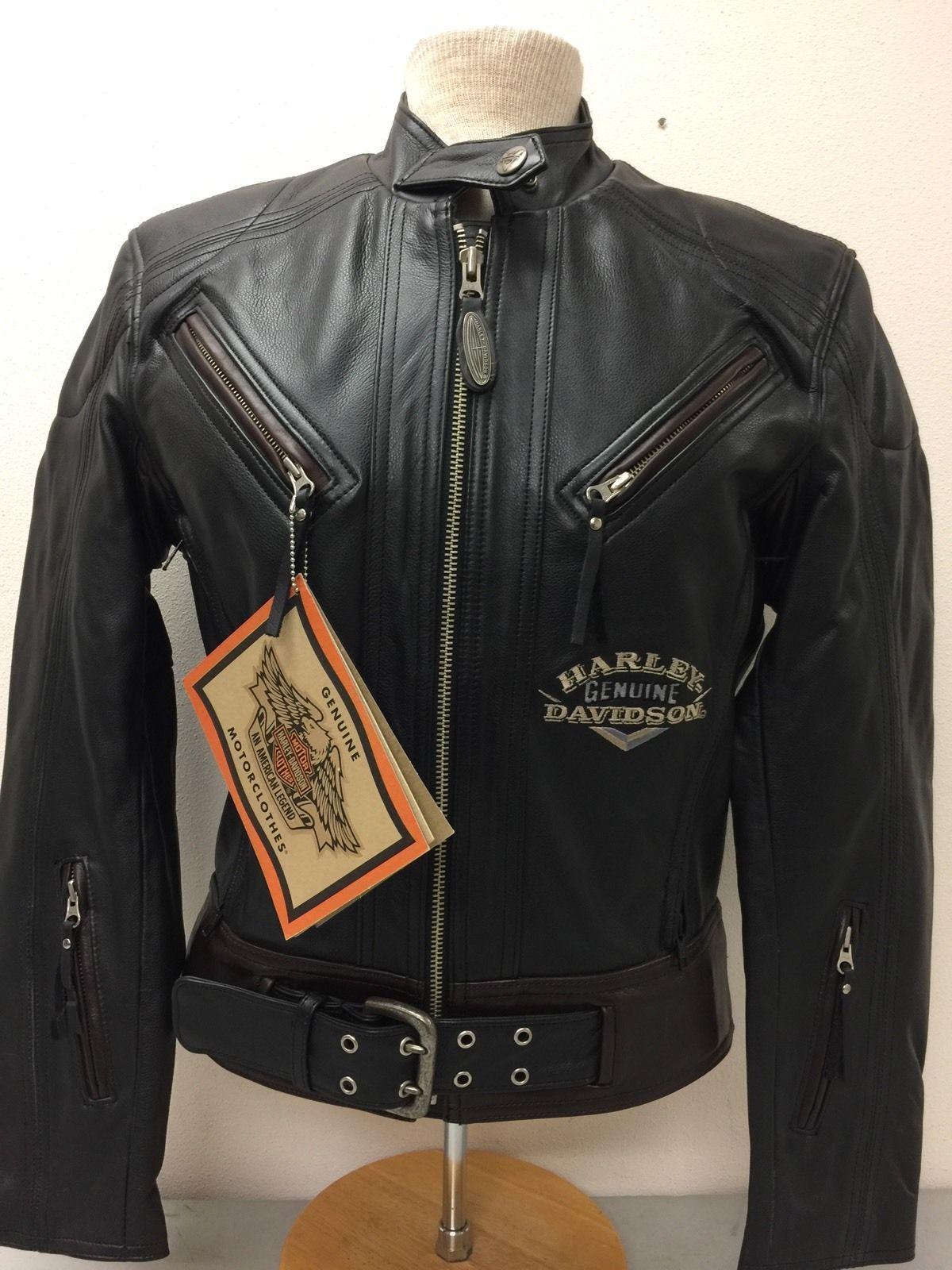 """Harley-Davidson Women's NWTs """"dyna"""" leather jacket black w/ brown 98123-94VW S https://t.co/3iGFvzNbbE https://t.co/LgIiXFbSMc"""