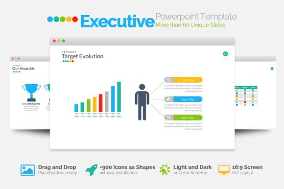 Executive Powerpoint Template by Slidedizer on Creative Market - Sales Presentation Template