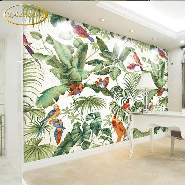Benutzerdefinierte 3d Fototapete Tropical Garten Blume Vogel Personlichkeit Tapete Wohnzimmer Schlafzi Tapeten Wandbilder Schlafzimmer Tapete Tapete Wohnzimmer