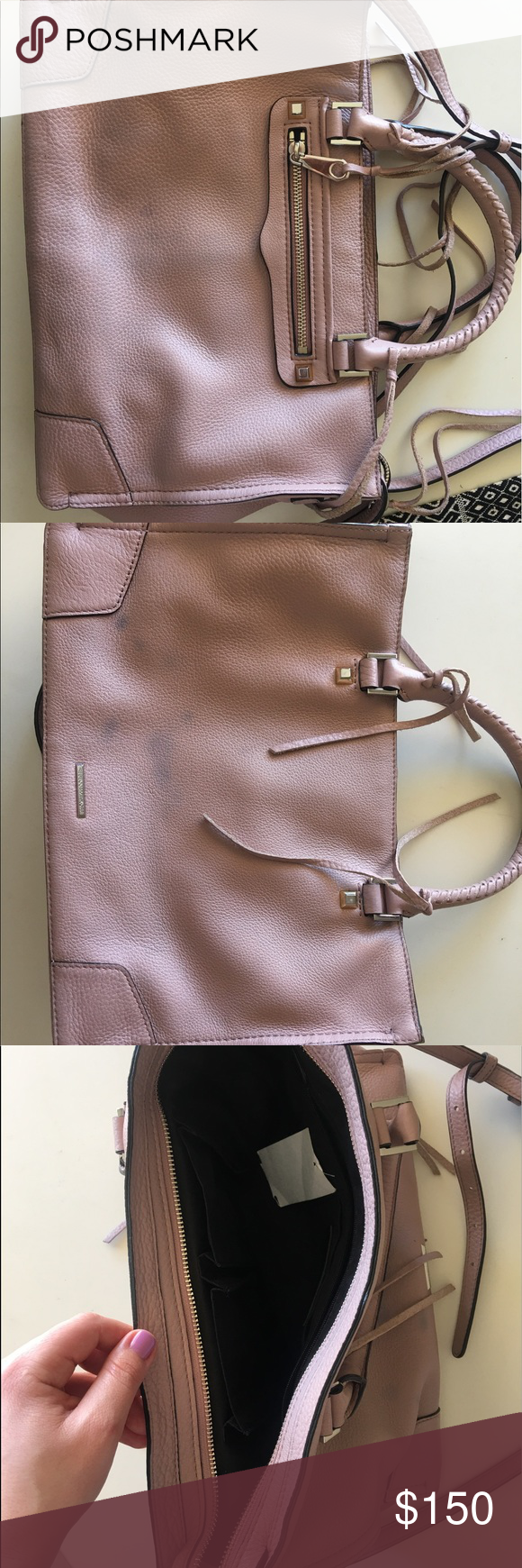 Regan Rebecca Minkoff satchel Blush pinky cross-body. Interior is flawless and minor denim rub off on the back panel of the purse. Please see pictures for more details. Rebecca Minkoff Bags Crossbody Bags