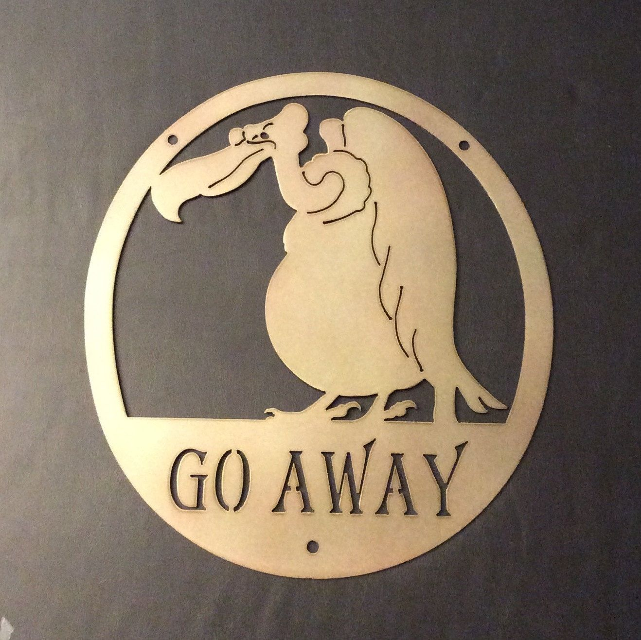 Plasma Cut Vulture GO AWAY Gag Welcome Sign Metal Wall Art - birds ...