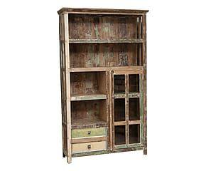 Libreria in legno con vetrina e cassetti - 122x201x41 cm | ARREDI ...
