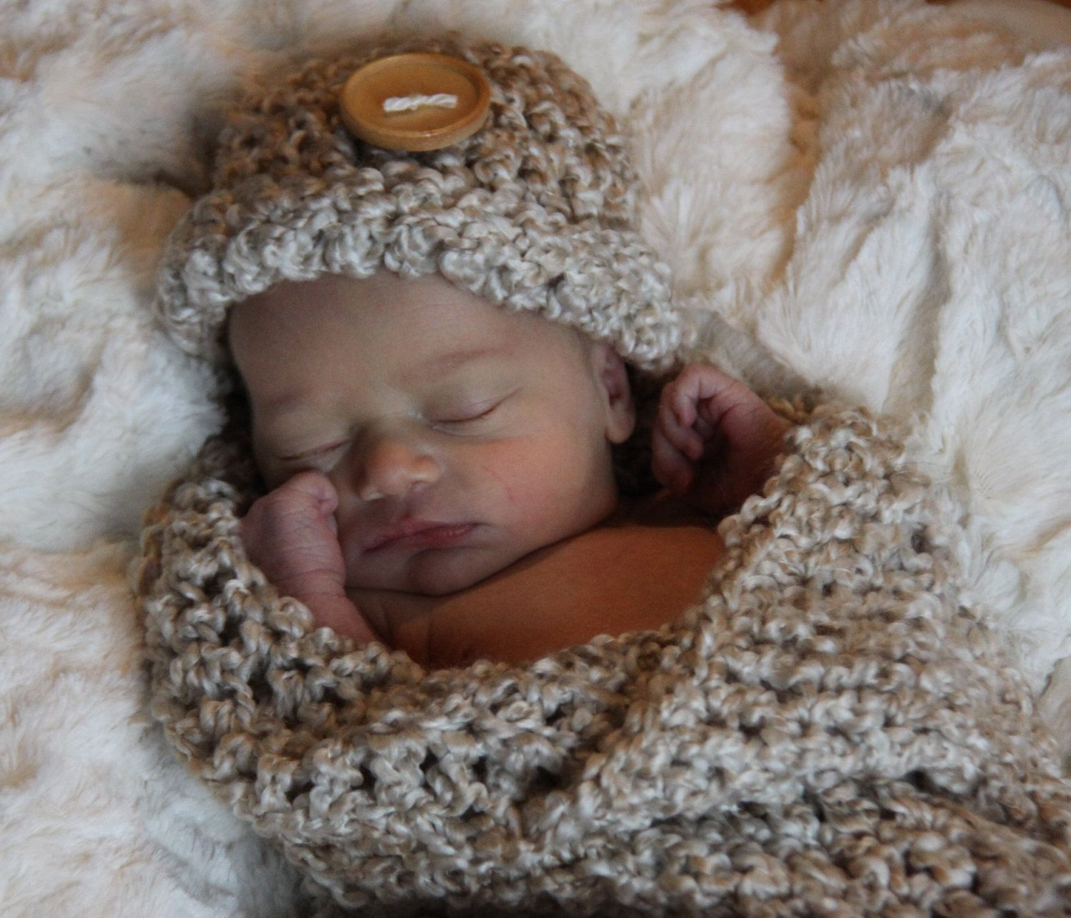 Cocoon Set Newborn Photo Prop in Soft Pearl Boucle Yarn with Big Wood Button - Photography Baby 2 pcs Hat and Cocoon MANY COLORS AVAILABLE. $28.00, via Etsy.