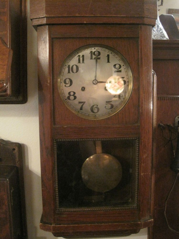 Antique Wall Clock Junghans Wurttemberg Pendulum Box Clock Antique Wall Clock Clock Wall Clock