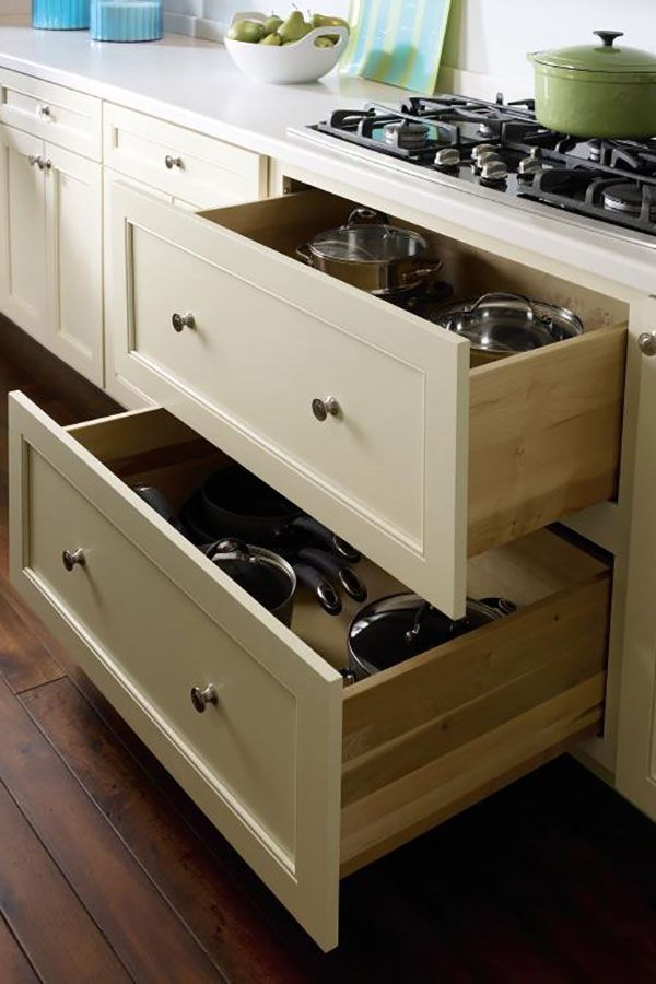 For Quick Visibility To Pots And Pans Use The Two Drawer Base