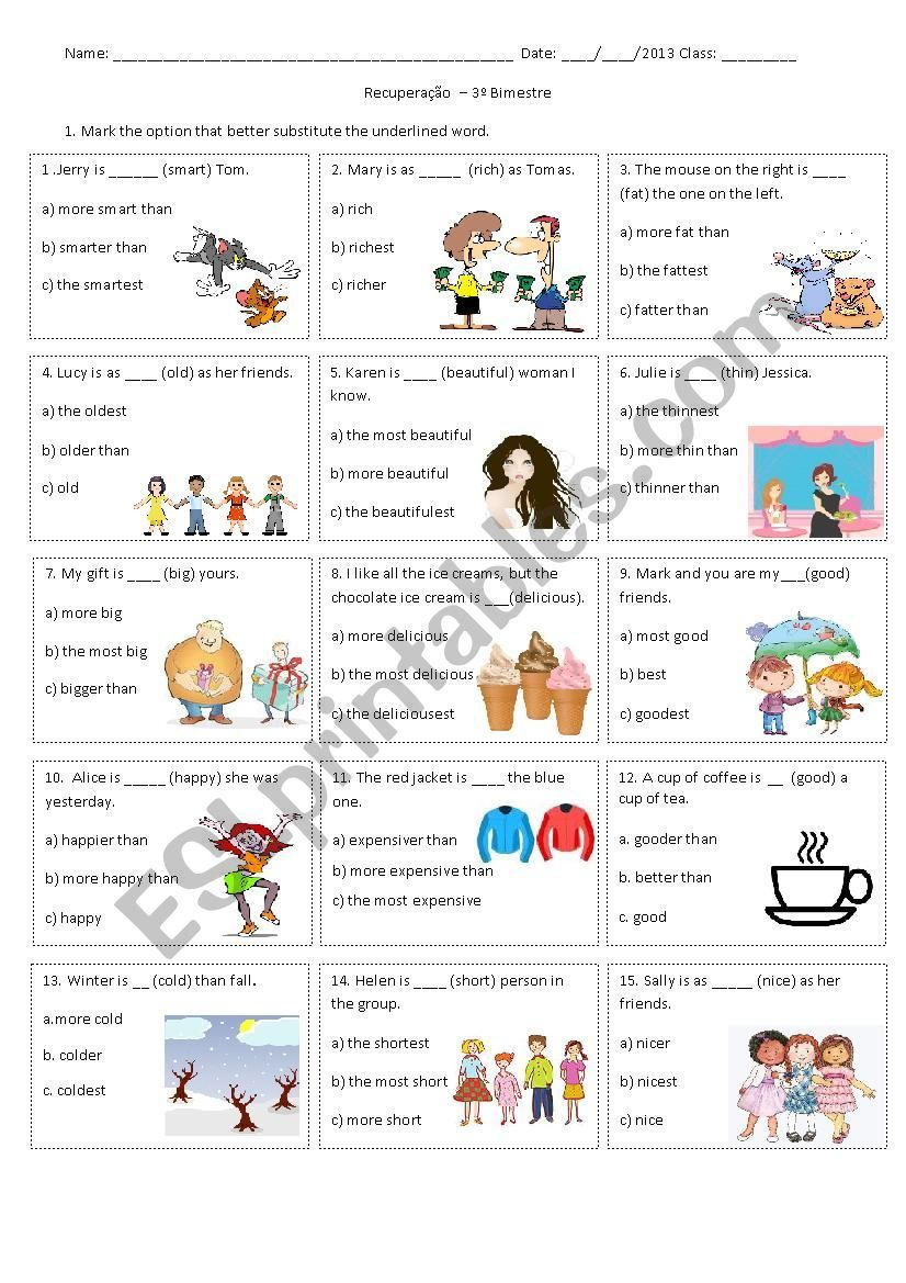 Comparison Of Equality And Superiority And Superlative Multiple Choice Degrees Of Comparison Adjectives Superlative Adjectives