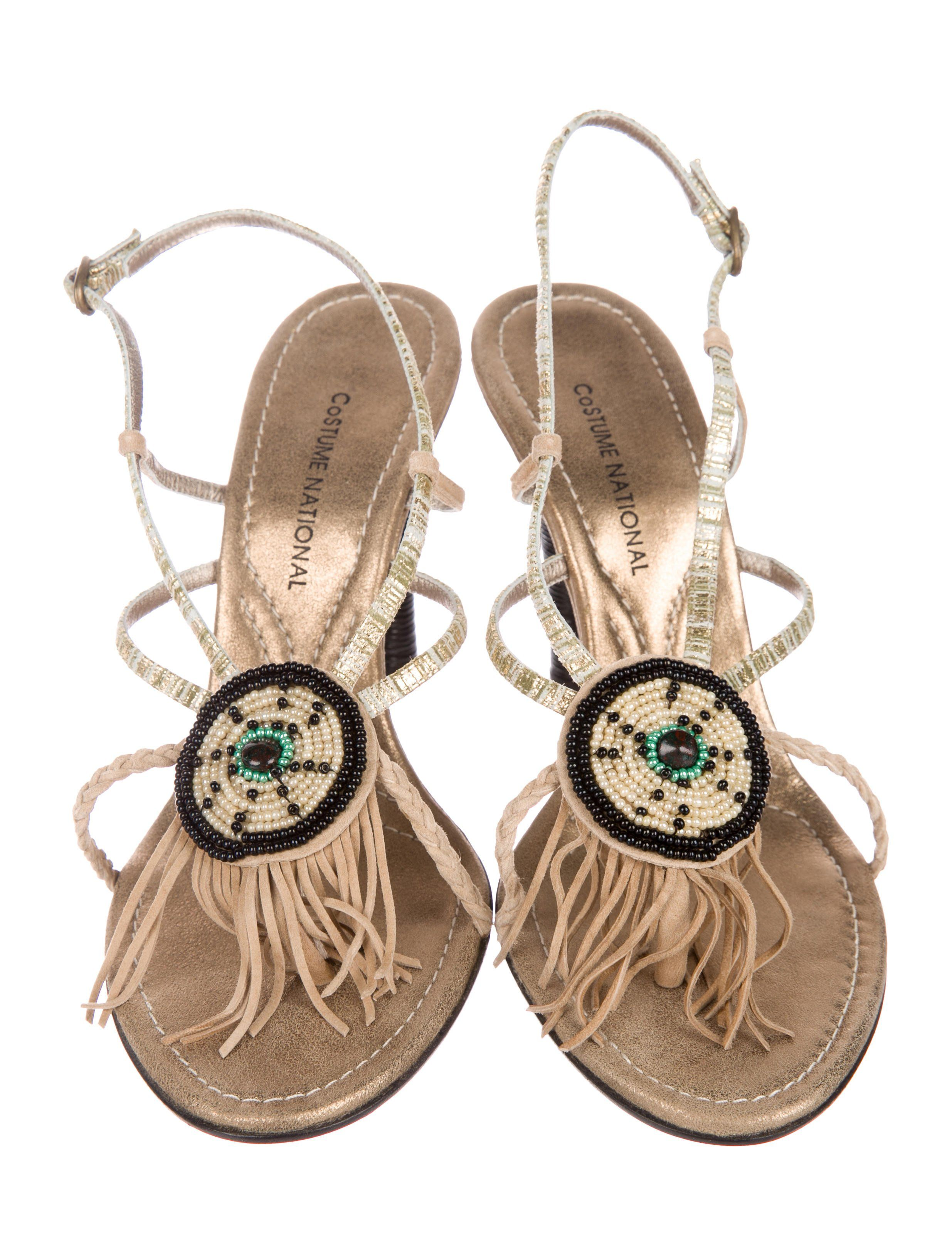2d3bd3ed606fd1 Metallic leather Costume National sandals with beaded embellishments