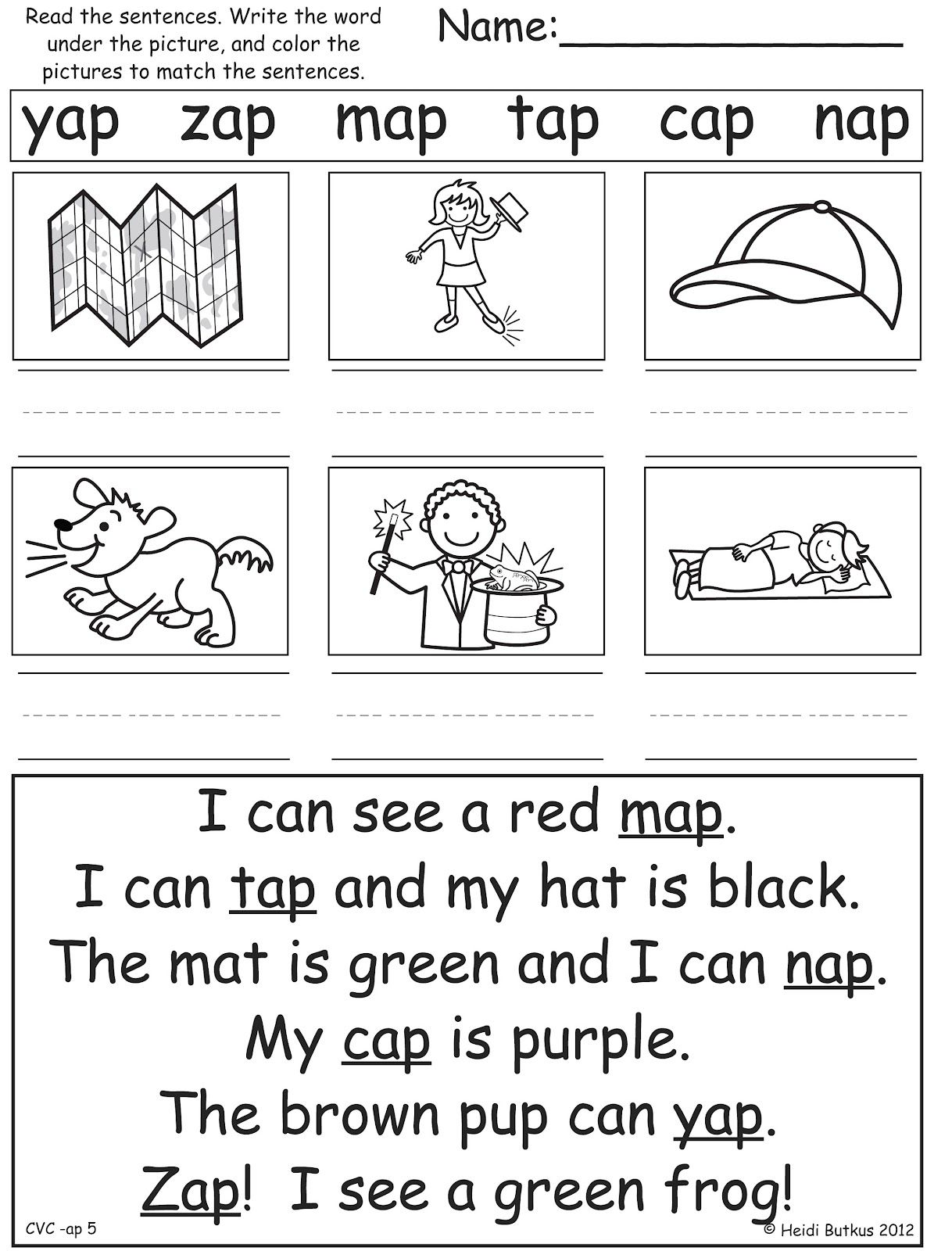 Sentences Worksheet With He Can Run Etc