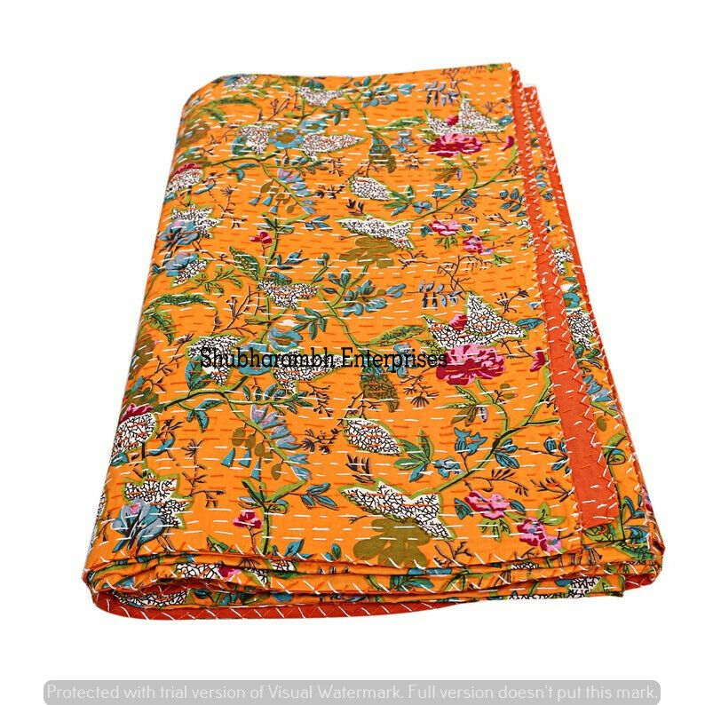 Vintage Handmade Kantha Quilt Orange bird Indian Cotton Twin Size Gudari Quilt