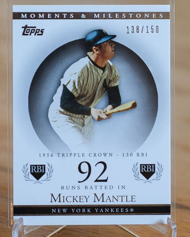 Mickey Mantle New York Yankees 2007 Topps Moments Milestones Serial Numbered To 150 Baseball Cards Of The Mo Baseball Cards Baseball Baseball Trading Cards